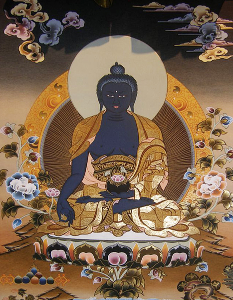 A Tibetan Thangka Painting of Medicine Buddha
