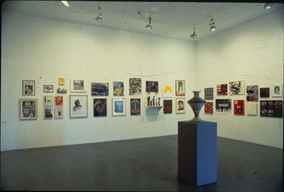 Photograph of the small works section from the June 4 Exhibition at PS1